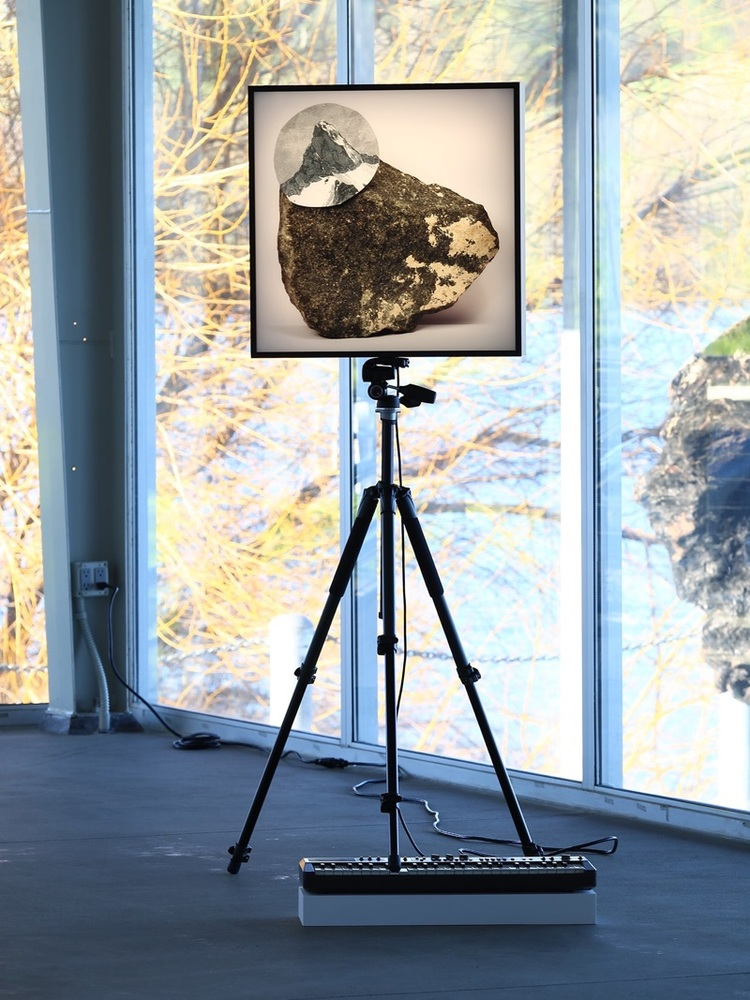 """a paradox in distance (inverted) #3, 2014 lightbox, tripod, Casiotone MT-68 keyboard.dimensions variable, (lightbox 24"""" x 24"""" x 5"""")"""