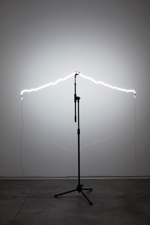 more than this, 2015 neon, microphone stand. dimensions variable.