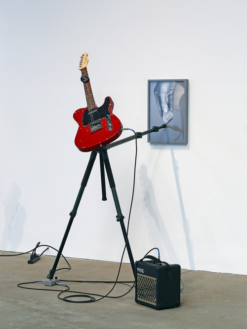 momentarily together forever #1, 2014 Fender Squire Telecaster guitar, tripod, Vox amplifier, Electro-Harmonics Freeze pedal, rock, archival pigment print. dimensions variable