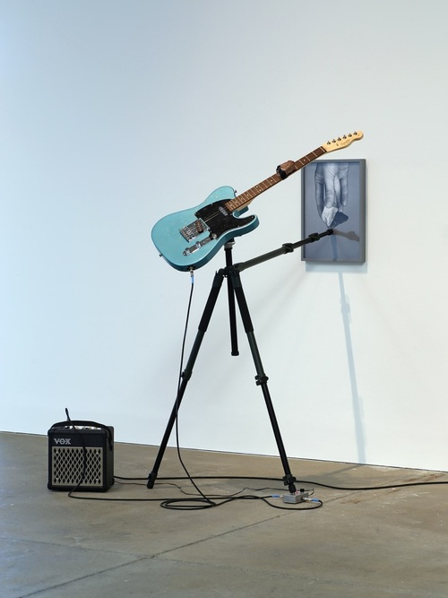 momentarily together forever #2, 2014 Fender Squire Telecaster guitar, tripod, Vox amplifier, Electro-Harmonics Freeze pedal, rock, archival pigment print. dimensions variable