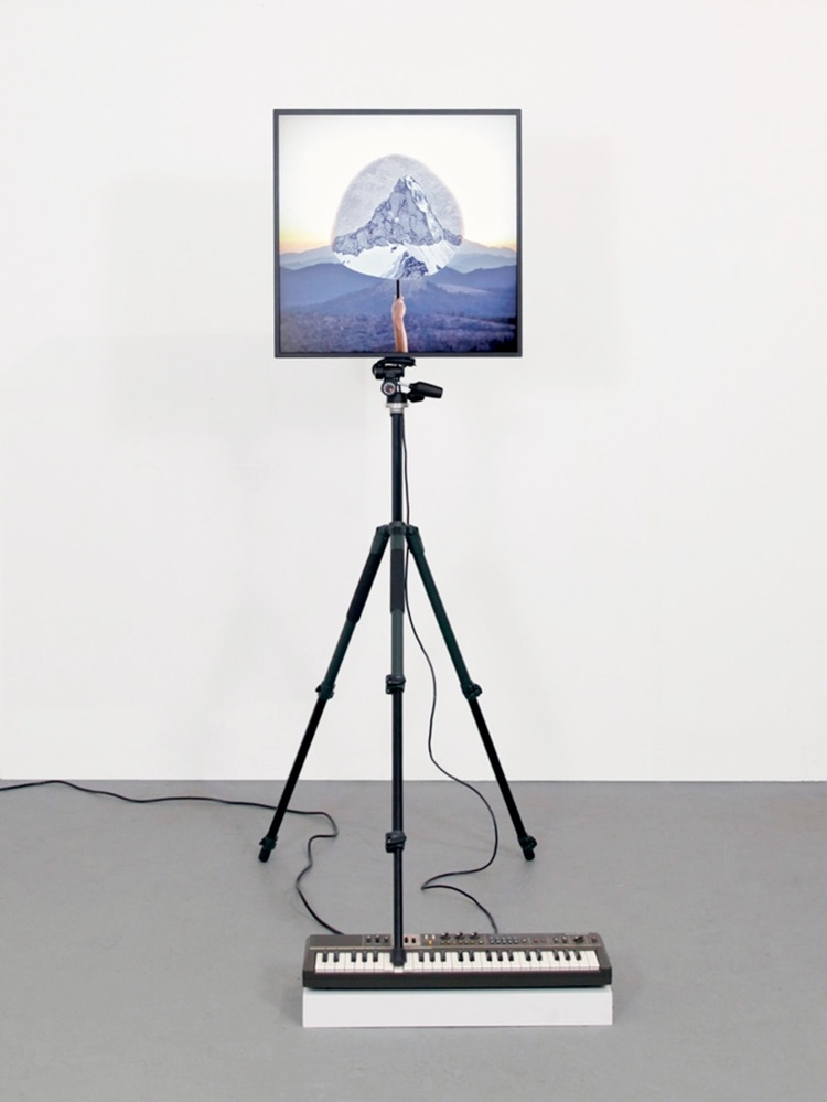 "a paradox in distance, 2014 lightbox, tripod, Casiotone MT-68 Keyboard. dimensions variable, (lightbox is 24"" x 24"" x 5"")"