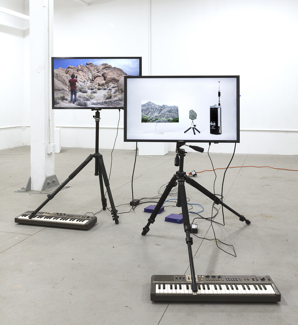these things : provisional version, 2018 (installation view)  modified LCD monitors, HD synchronizes, Casiotone MT-68 Keyboards, tripods   looped video is 4min 23sec, dimensions variable