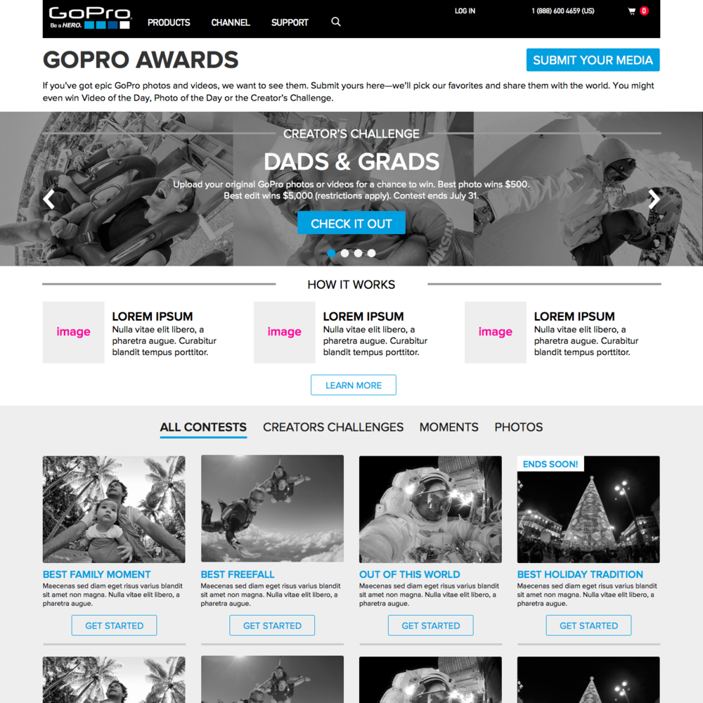 2015: GoPro Awards - Wireframe Concept