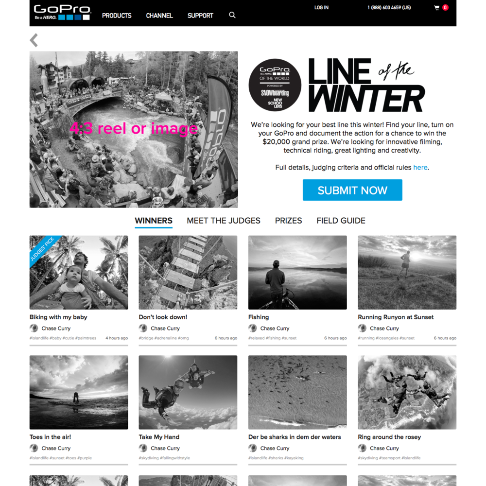 2015: GoPro Awards Contest Page Wireframes