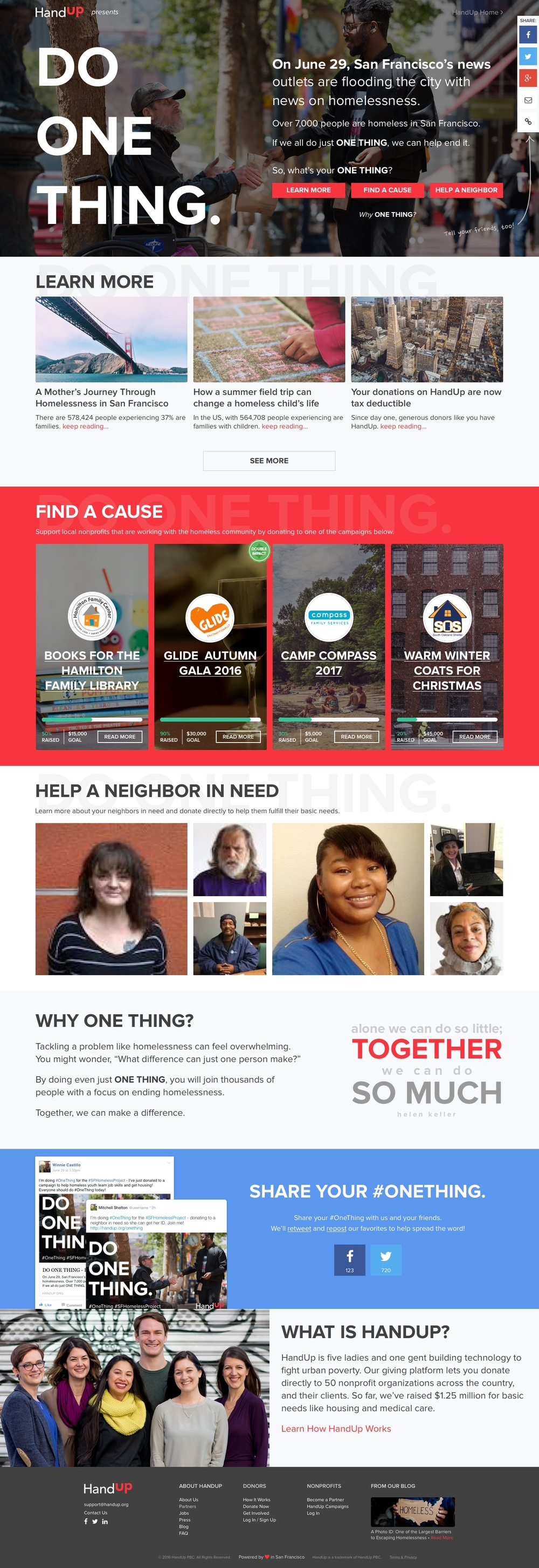 June29 #SFHomelessProject #OneThing Landing Page
