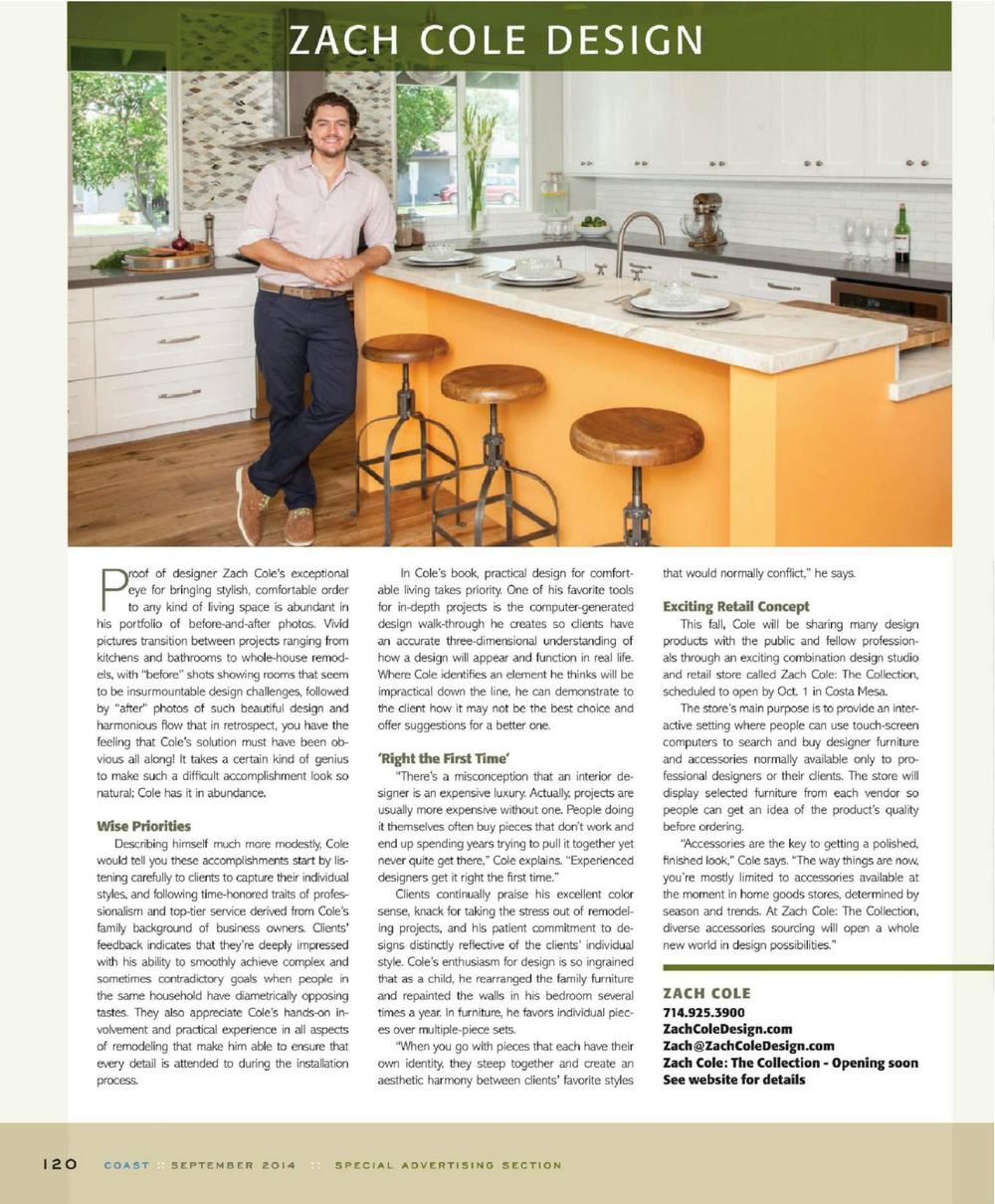 Zach Cole Design Orange County Interior Designer Coast Magazine   Sept