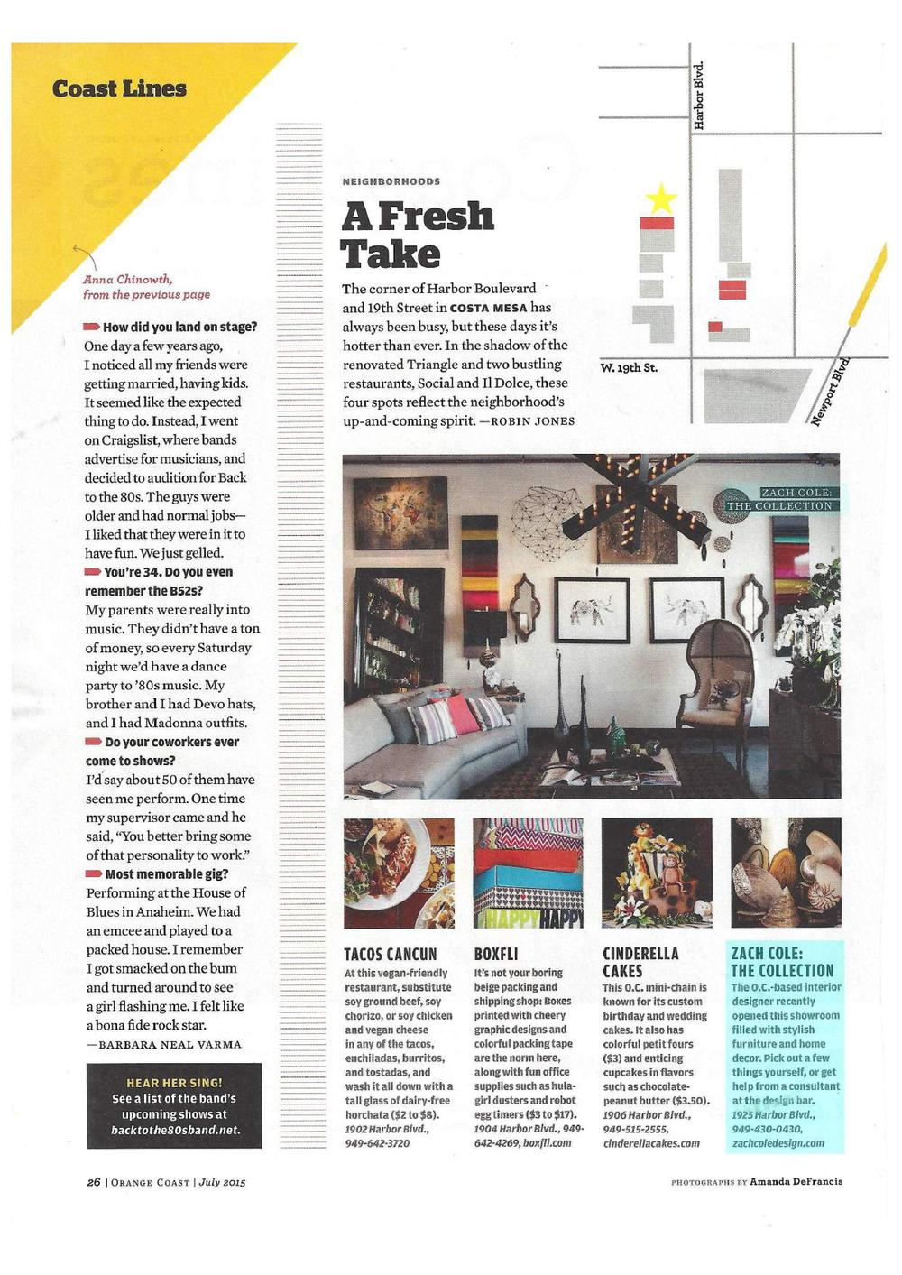 Zach Cole Design - Orange Coast Magazine - July 2015