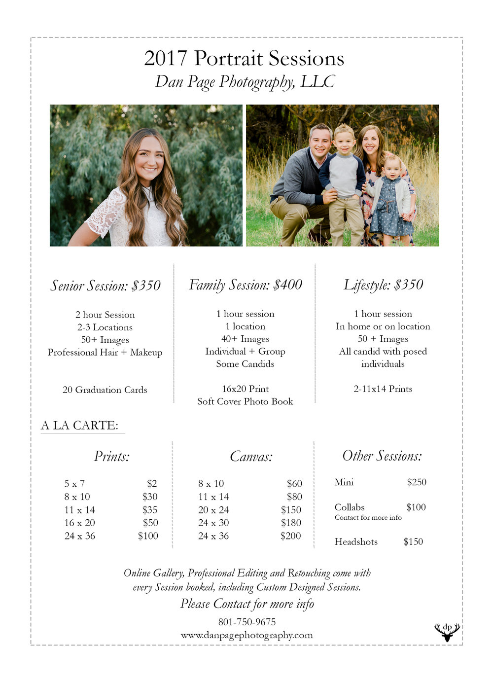 Davis County Photographer, Dan Page Photography, Price Guide