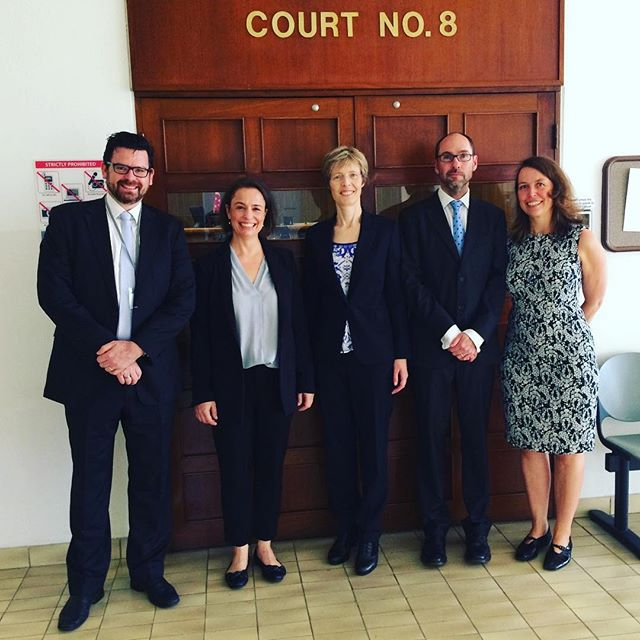 Australian advocacy coaches: Gail Archer (WA), Peter Quinlan (WA), Christopher Whitcutt (Sth Africa), Chris Koch and Lucy Cornell teaching at the intermediate advocacy course in Singapore hosted by Samuel Chacko of Legis Point Singapore and the Singapore Law Society
