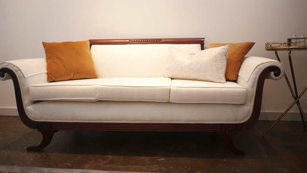 Picture of old well restored English sofa in the bridal suite of our wedding venue