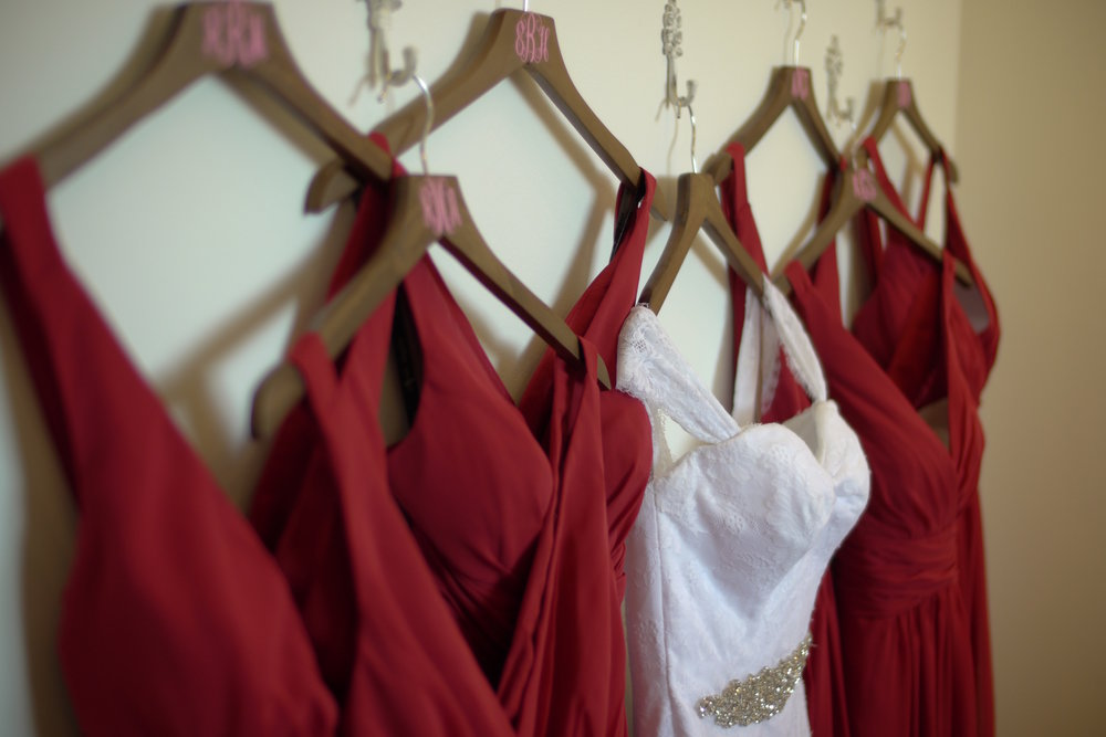 Beautiful wedding dresses hanging in our bridal suite