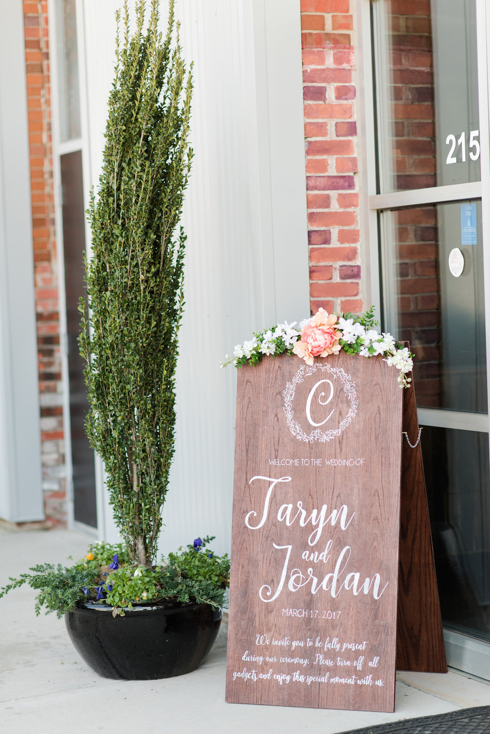 Taryn and Jordan's wedding reception sign