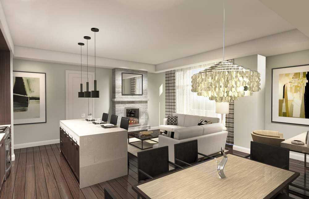 Model Suite Kitchen and Living Room