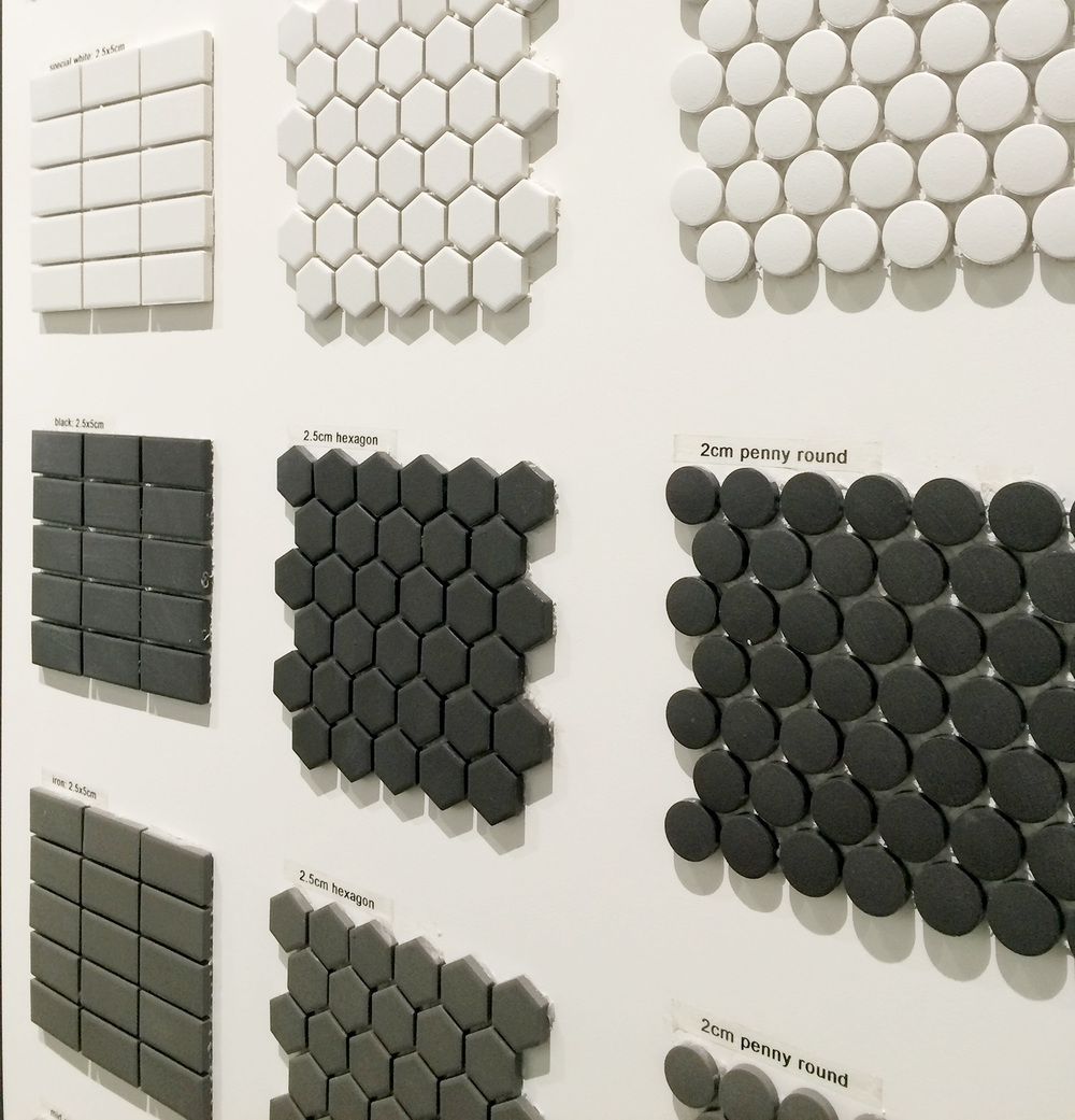 Matte Grey, Black, and White Penny Round Ceramic Tiles