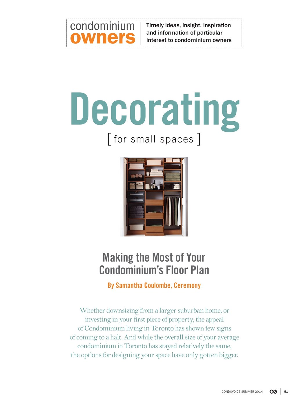 "Condo Voice - Summer 2014 ""Decorating for Small Spaces"""