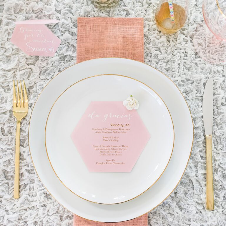 We decided to make pretty menus and place cards to of course make our Amigas feel special and share these Printables with you too!!! You can find these FREE PRINTABLES HERE.