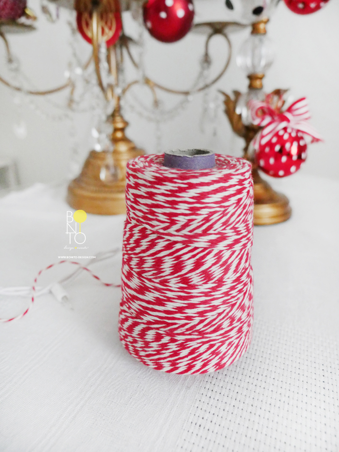 Use Red & White Twine Roll as a vase for Dried Flowers to keep it festive during the holidays. All details matter :)