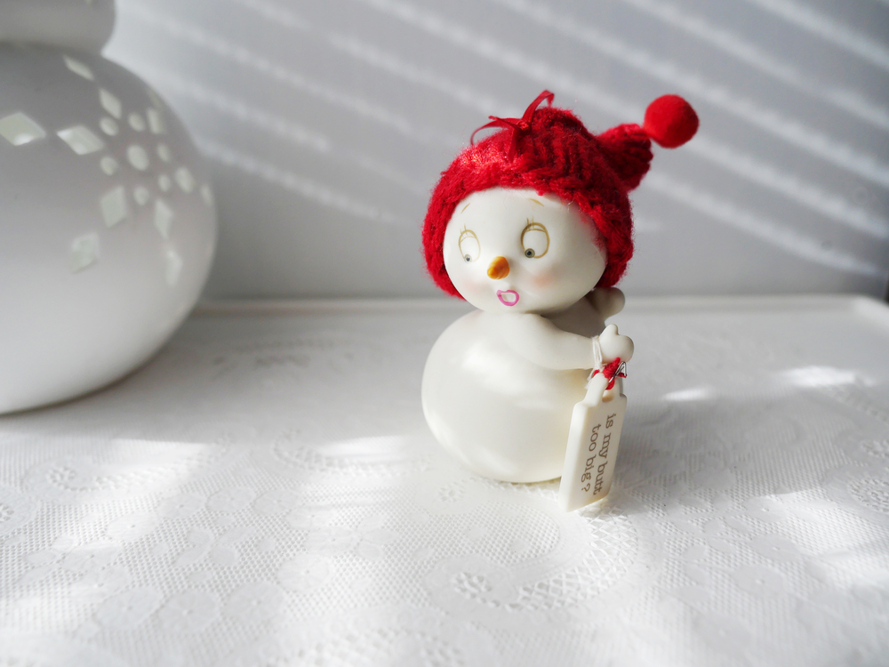 "Cute as can be snowwoman has come out again this December. My fav ornament. ""Is my butt too big?"" Ha LOVE it!"