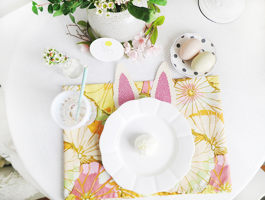 Easter Bunny Delight! A fun & pretty Easter Styled table setting with mixed patterns & spring colors. The Pink Glittered Bunny Ears & adorable Pale Yellow Cotton Candy Tail made this just too cute for words! Don't you agree?!