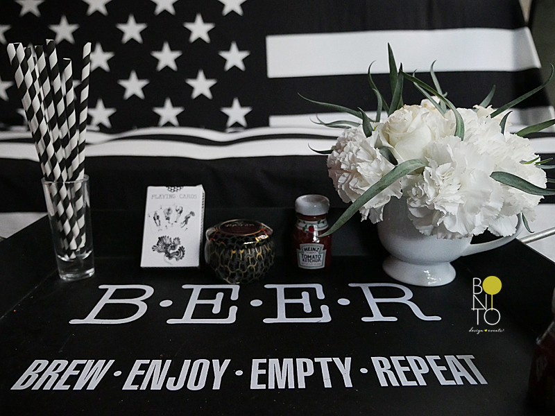 We are celebrating July 4th in Black and White. That's Right a Modern Decor for this weekend's Holiday! All ready for the BBQ, Hot Dogs, Beers, Good Times, etc...