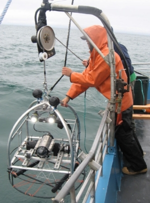 Video Lander equipment being retrieved after investigating species and habitats on rocky reefs off Newport.