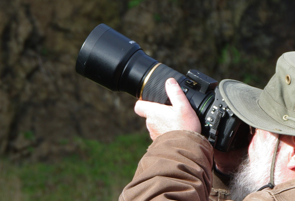Wayne Hoffman, Policy Director for the MCWC, aims his camera at a Peregrine Falcon nest at Yaquina Head.
