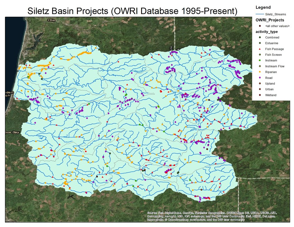As a first step in this process, we created a map of work already completed in the Siletz Basin. Please note, this map will be updated as other sources of restoration data are explored.