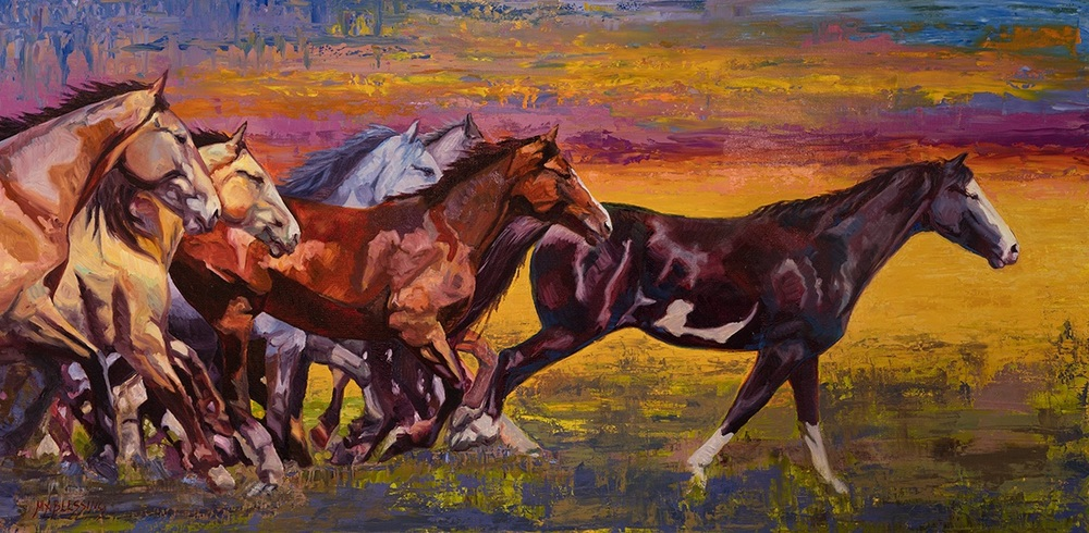 'Twilight Run' | 24x48 | oil on canvas | Meagan Abra Blessing