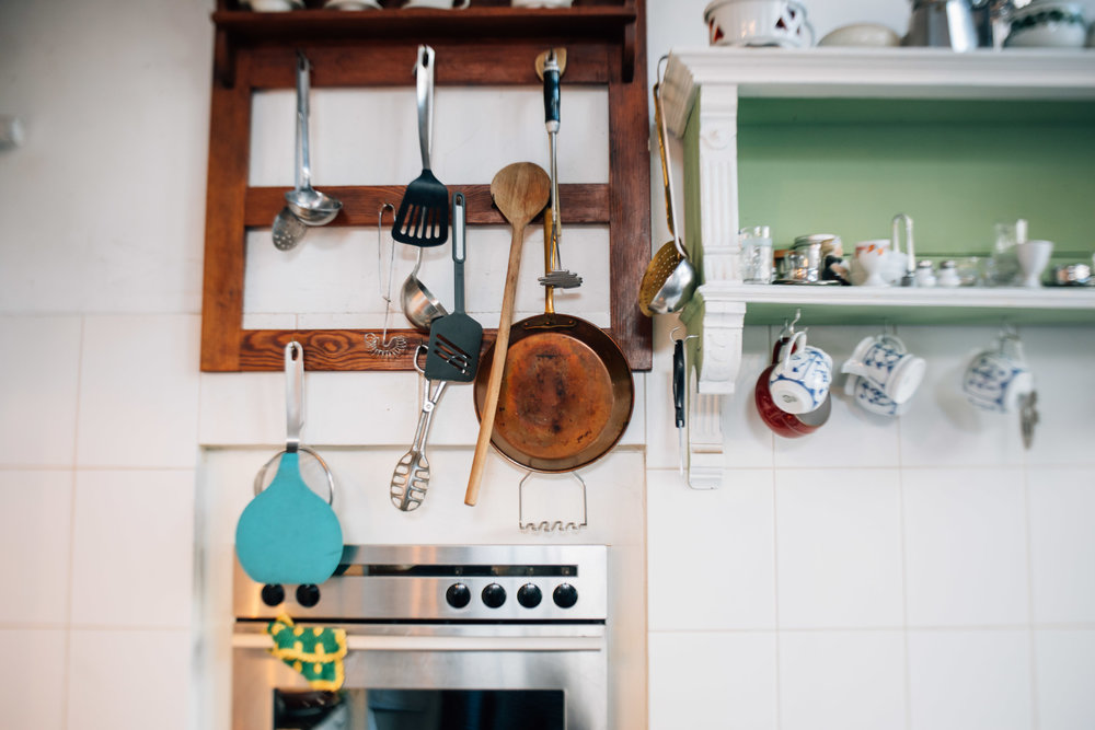 A look into her kitchen where coffee and cake are prepared for customers