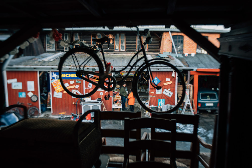 Everything you see is for sale; even the bike hanging from the ceiling.