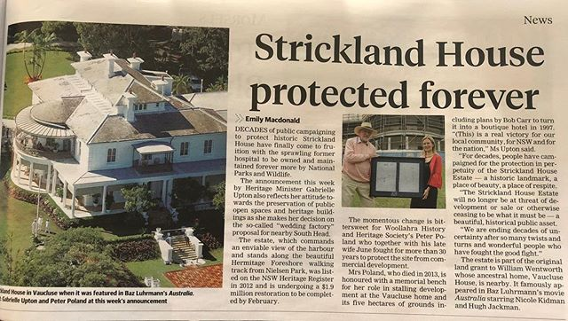 @gabrielleuptonmp announcement re preservation of Strickland House in @wentworth_courier today makes mention of the impending decision the Minister has ahead on @savesouthhead. Let's hope that she can preserve the South Head National Park for everyone to enjoy too, and reject the proposal to hand it over to one commercial operator. #justsaynogabrielleupton