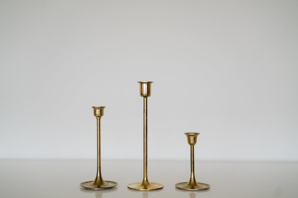 MODERN BRASS CANDLE HOLDERS