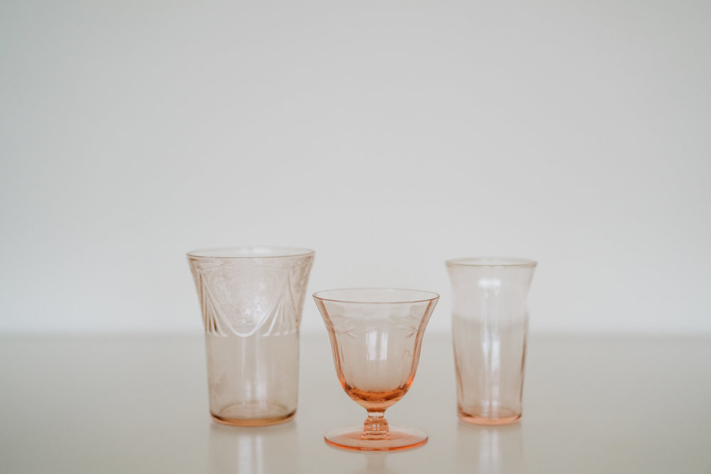 DEPRESSION GLASS VOTIVE HOLDERS