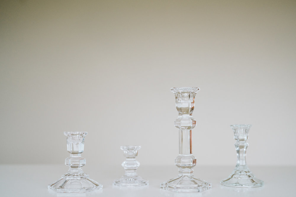 GLASS & CRYSTAL CANDLE HOLDERS