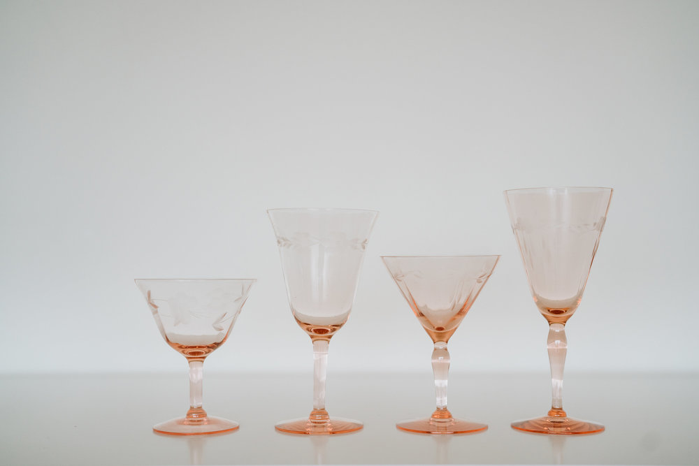 BLUSH DEPRESSION GLASSWARE