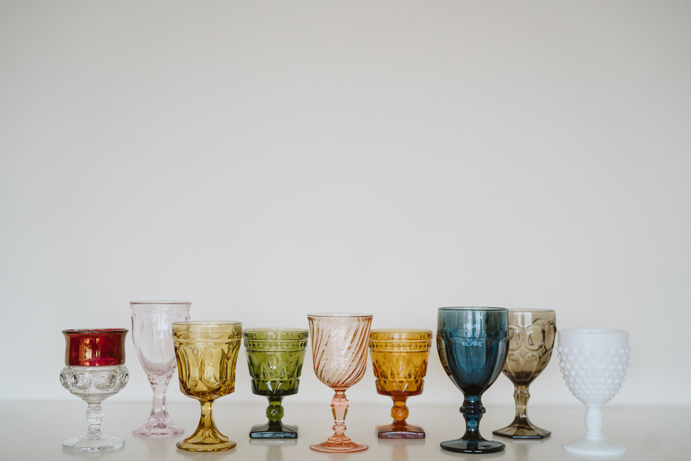 ASSORTED COLORED GOBLETS