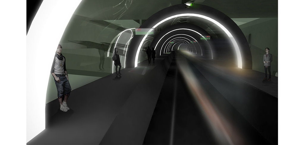Partially Open Scenario - View of Transfer Tunnel