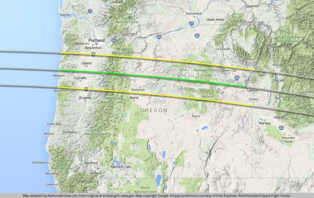 Path of Totality through Oregon
