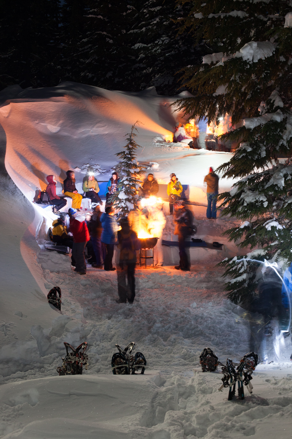 (A): Bonfire on the Snow Snowshoe with your Wanderlust Tours guide to a quiet spot in the snowy forest. Bask at a glowing bonfire in an amazing hand-carved amphitheater in the snow! Relax around the fire with newly made friends enjoying delectable desserts and hot drinks. Our outstanding naturalist guides will share fun facts about the forest, its animal life and the night sky!