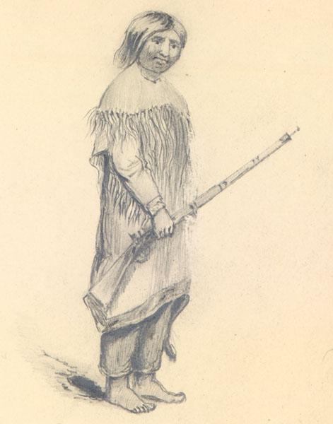 Drawing of an Umpqua man, by  Alred Thomas Agate .
