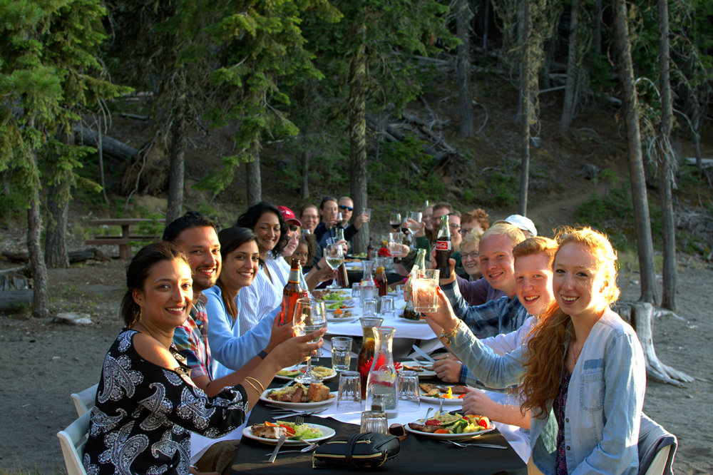 Dinner and a canoe tour on the shores of the Deschutes River.