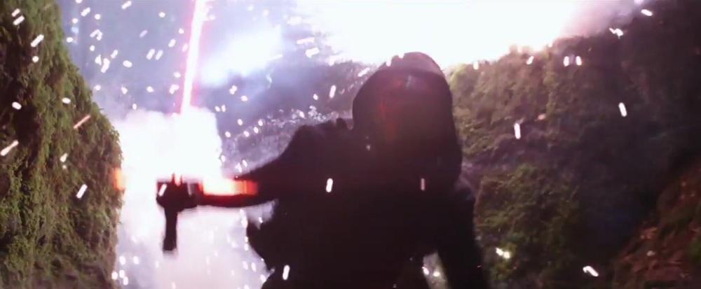 Kylo Ren deflecting Rey's blaster shots...