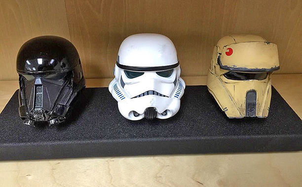 A variety of helmets created before Brian Muir joined the production...