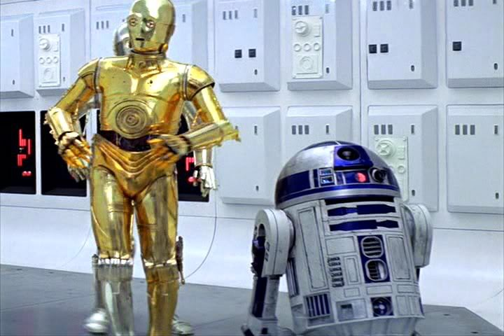 C-3PO in Star Wars Episode IV A New Hope - One silver leg.