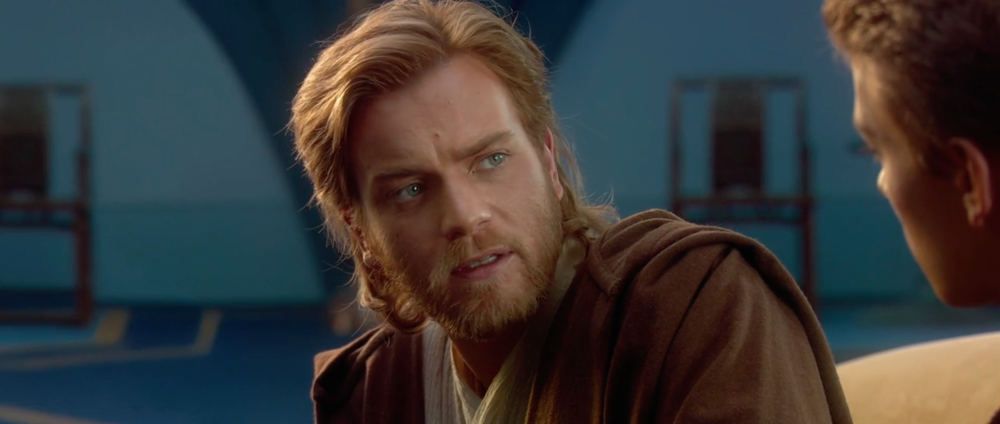 Ewan McGregor, complete with natural hair and beard.