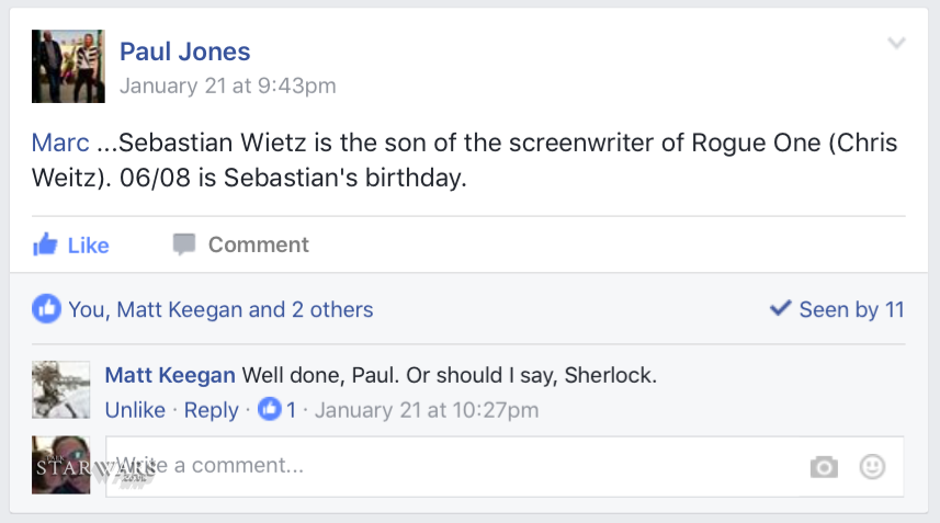 Paul reveal to the Talk Star Wars VIP Facebook Group.