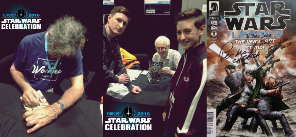 (Me and Theo at Star Wars Celebration Europe 2016 getting our comic signed by our two favourite Star Wars characters, after Thared of course; Boba Fett & Chewie!)
