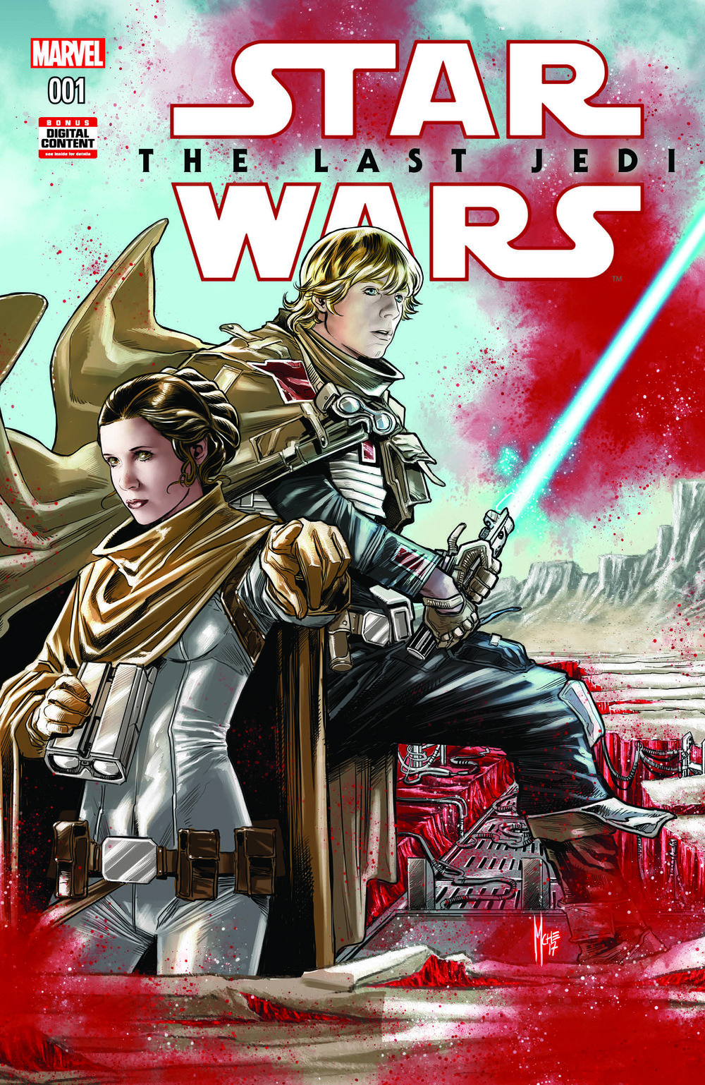 Art by: Marco Checchetto The familiar pop of red on the cover leads me to believe we may get a little more insight into the red mineral hidden beneath the salt-covered surface of Crait.