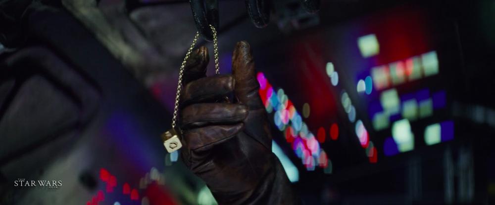Rian doubling as Luke Skywalker's hand.