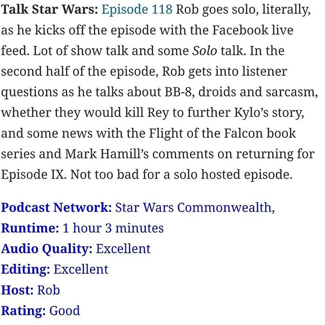 Some lovely reviews from @roqoodepot for the most recent episodes. Why not check out what all the fuss is about over on talkstarwars.co.uk? #talkstarwars  #Starwars #Podcast #Podcasting  #reviews